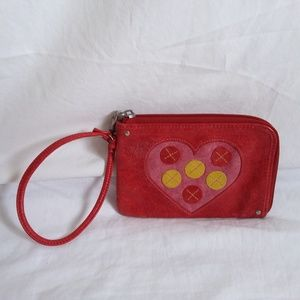Fossil Red Leather Heart Wristlet